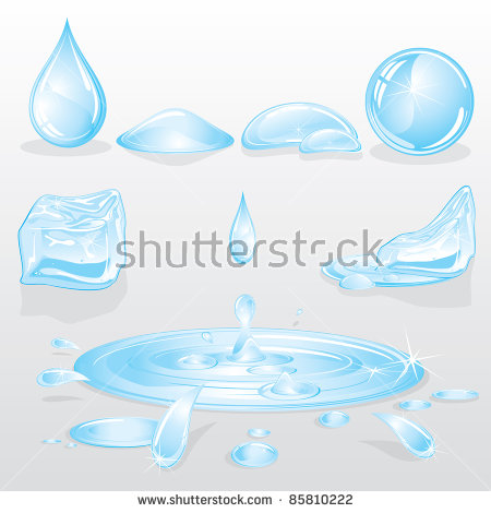 Funny Cartoon Water Drops Vector Illustration Stock Vector.