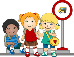 Drop off at school clipart.