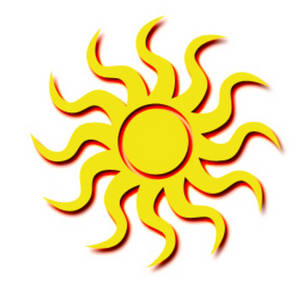 Free Clipart Picture of a Tribal Sun.