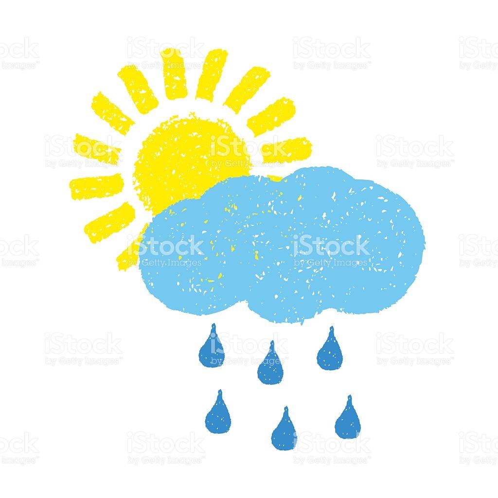 Sun Cloud And Rain stock vector art 528478778.