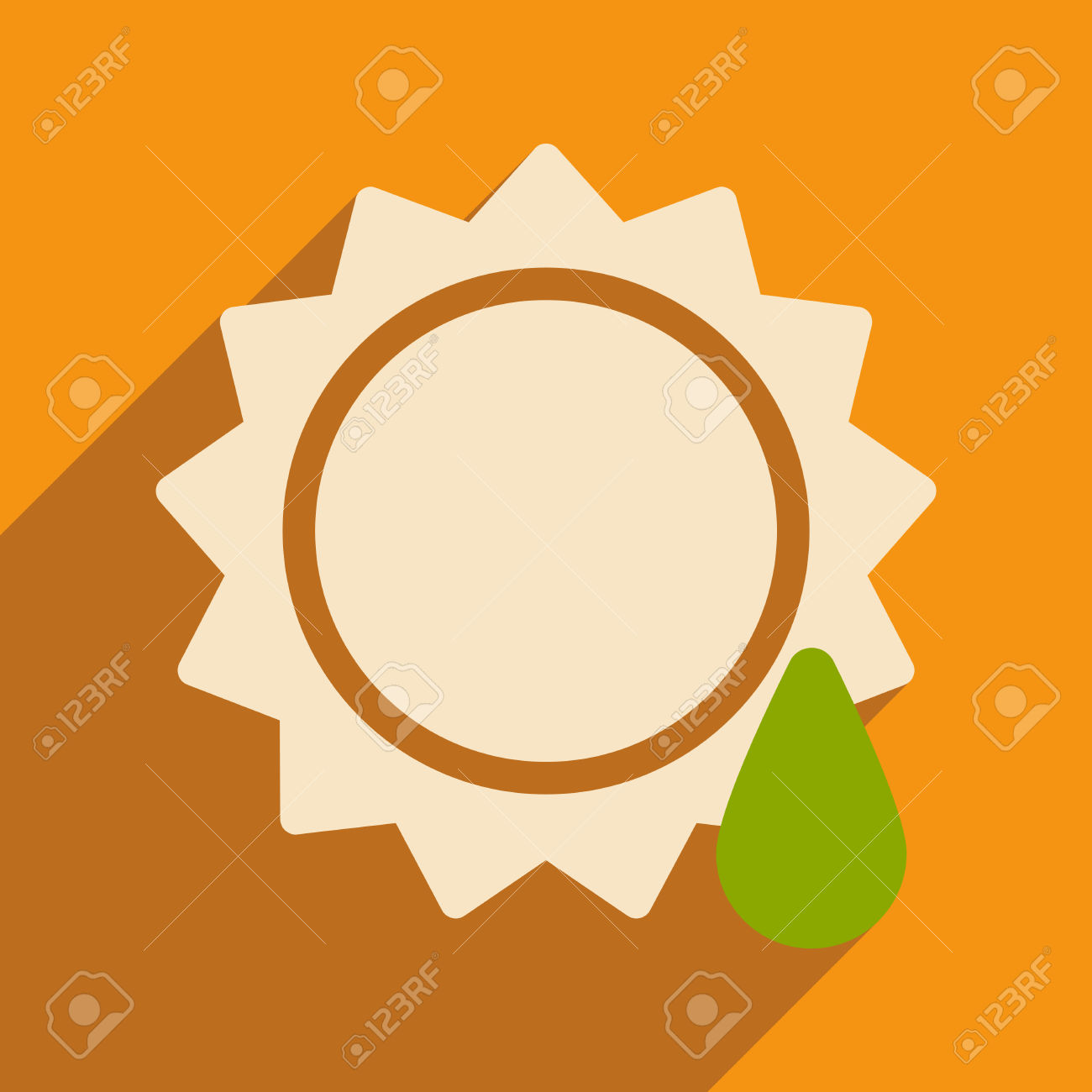 Flat With Shadow Icon And Mobile Application Sun Drop Royalty Free.