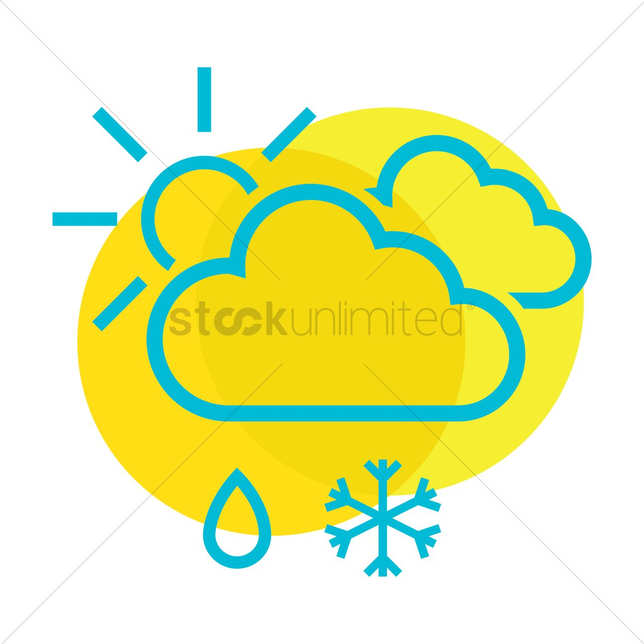 Free Clouds sun snowflake and rain drop Vector Image.