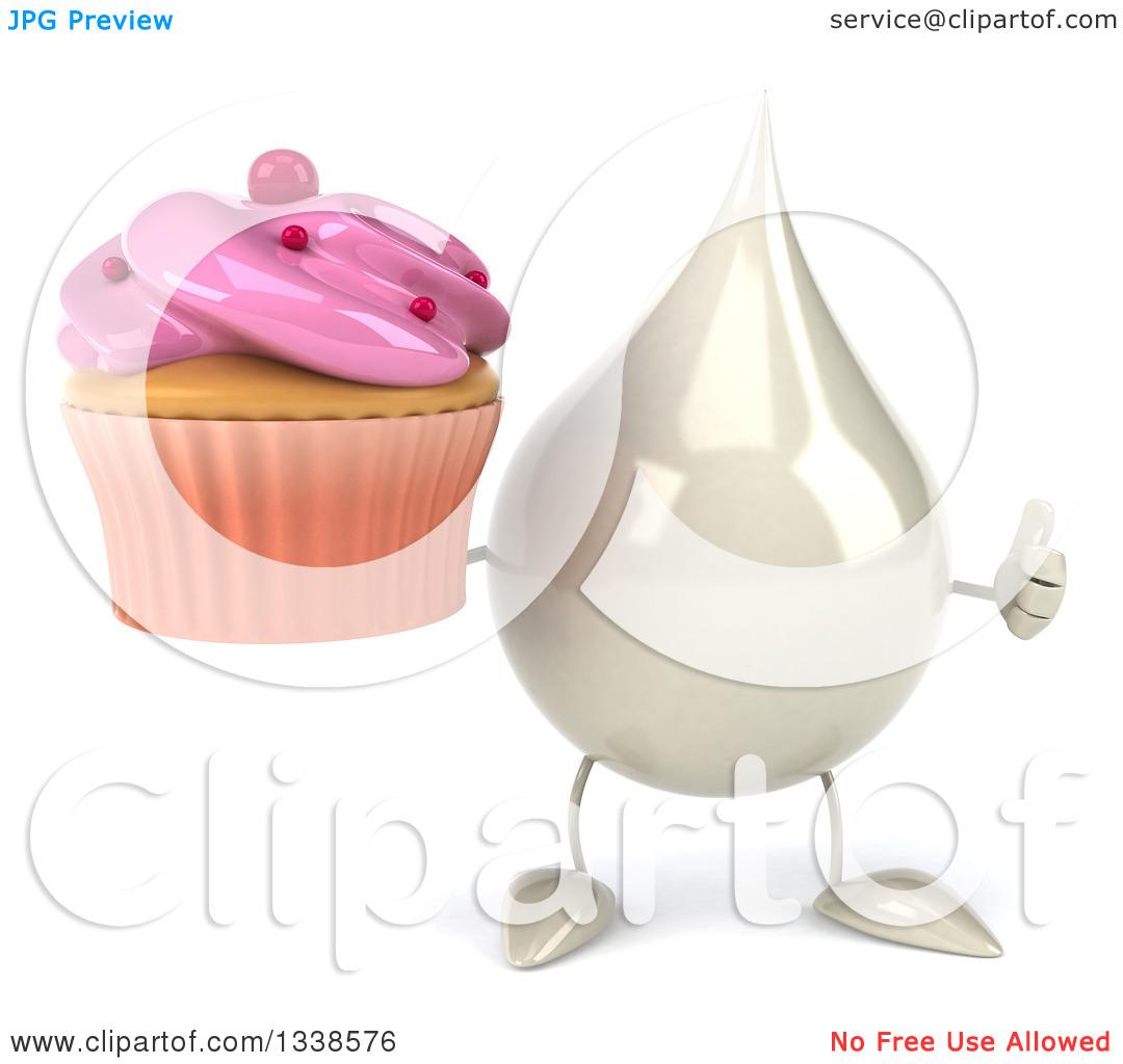 Clipart of a 3d Milk, Lotion, Shampoo or Liquid Soap Drop.