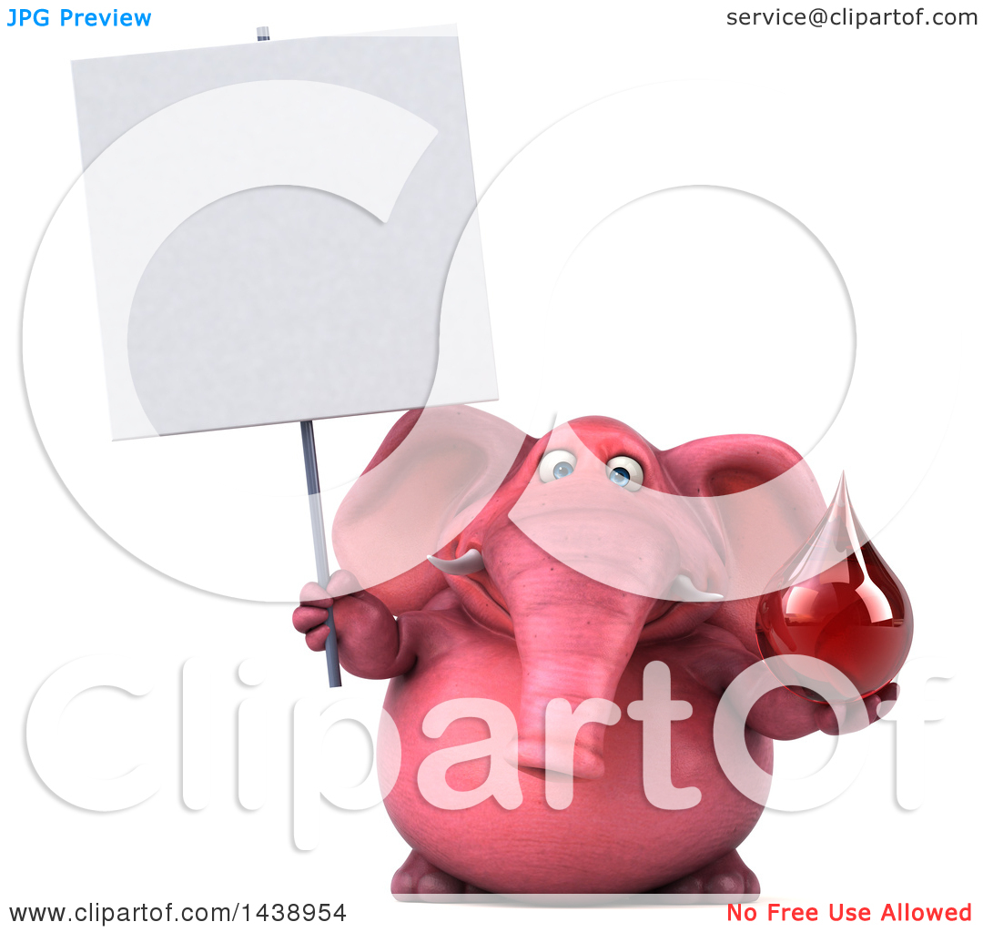 Clipart of a 3d Pink Elephant Character Holding a Blood Drop, on a.