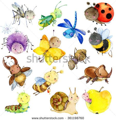 Funny insects collection. Watercolor Cartoon insect. Wasp, bee.