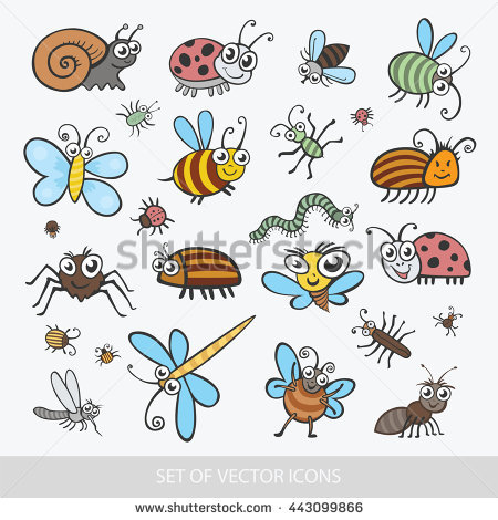 Insect Summer Nature Icon Set Illustration Stock Vector 435913888.