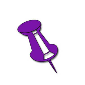 Clipart Picture of a Purple Push Pin.