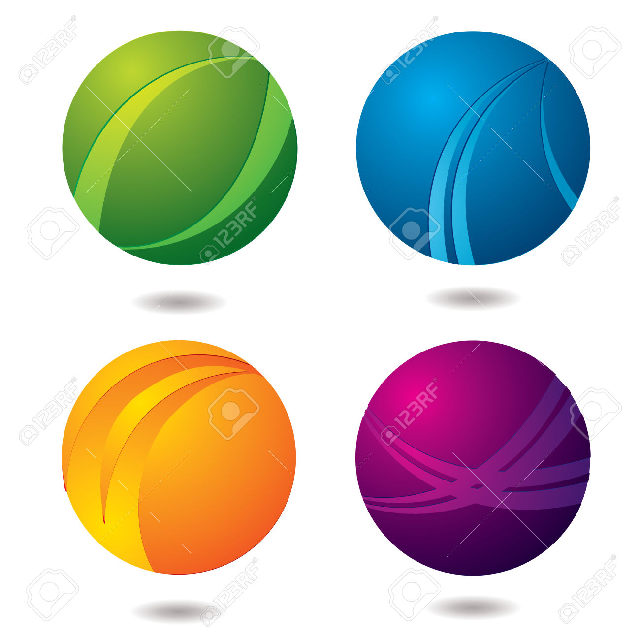 Set Of Four Abstract Buttons With Drop Shadow Royalty Free.