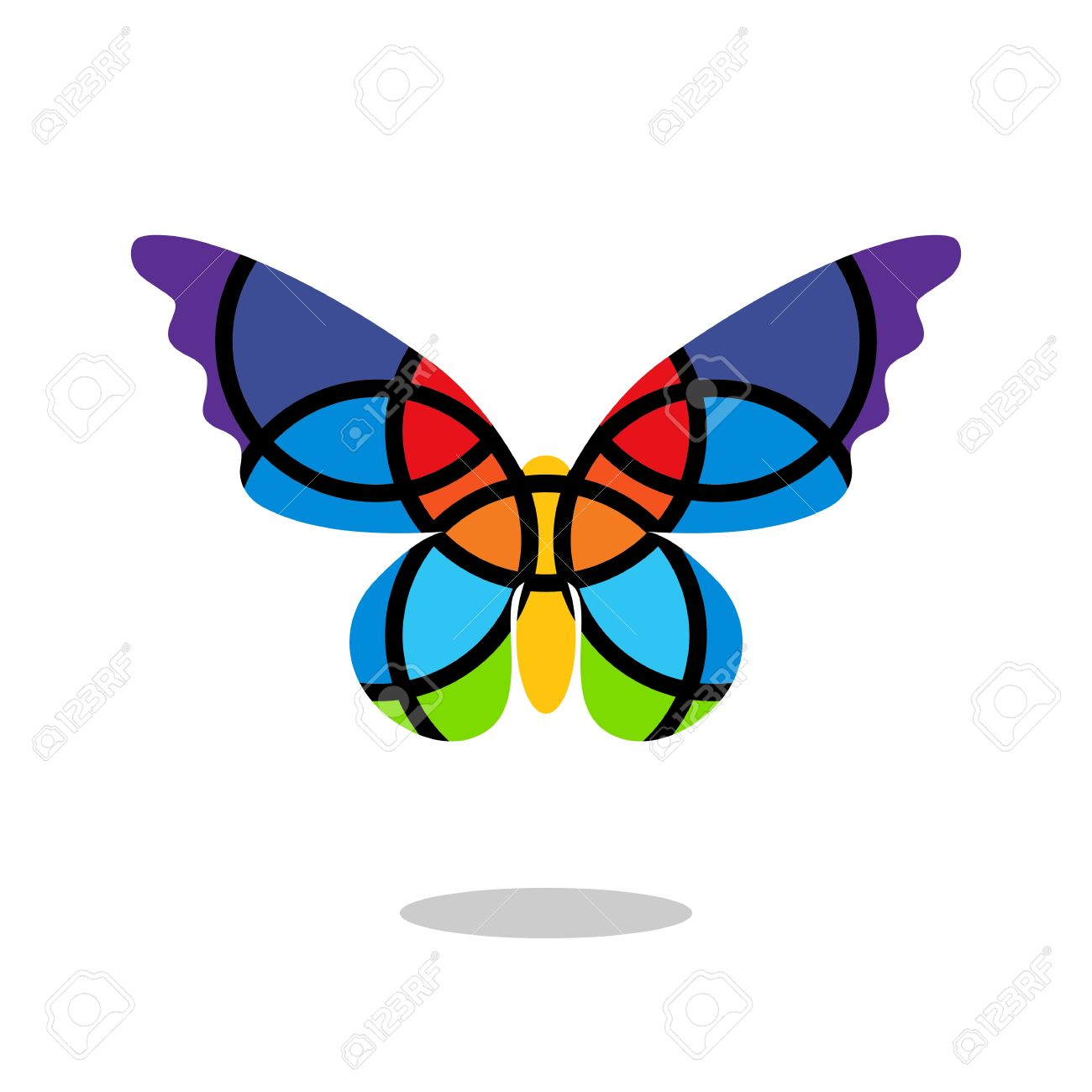 Butterfly Mosaic Isolated With Drop Shadow. White Background.