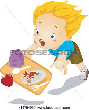 Clip Art of Kid Boy Tumbles Down and Drops Food k14794939.