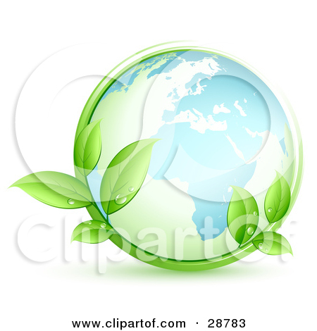 Clipart Illustration of Two Lush Green Organic Leaves With Dew In.