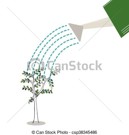 Vector of plant with watering can and water drops csp38345486.