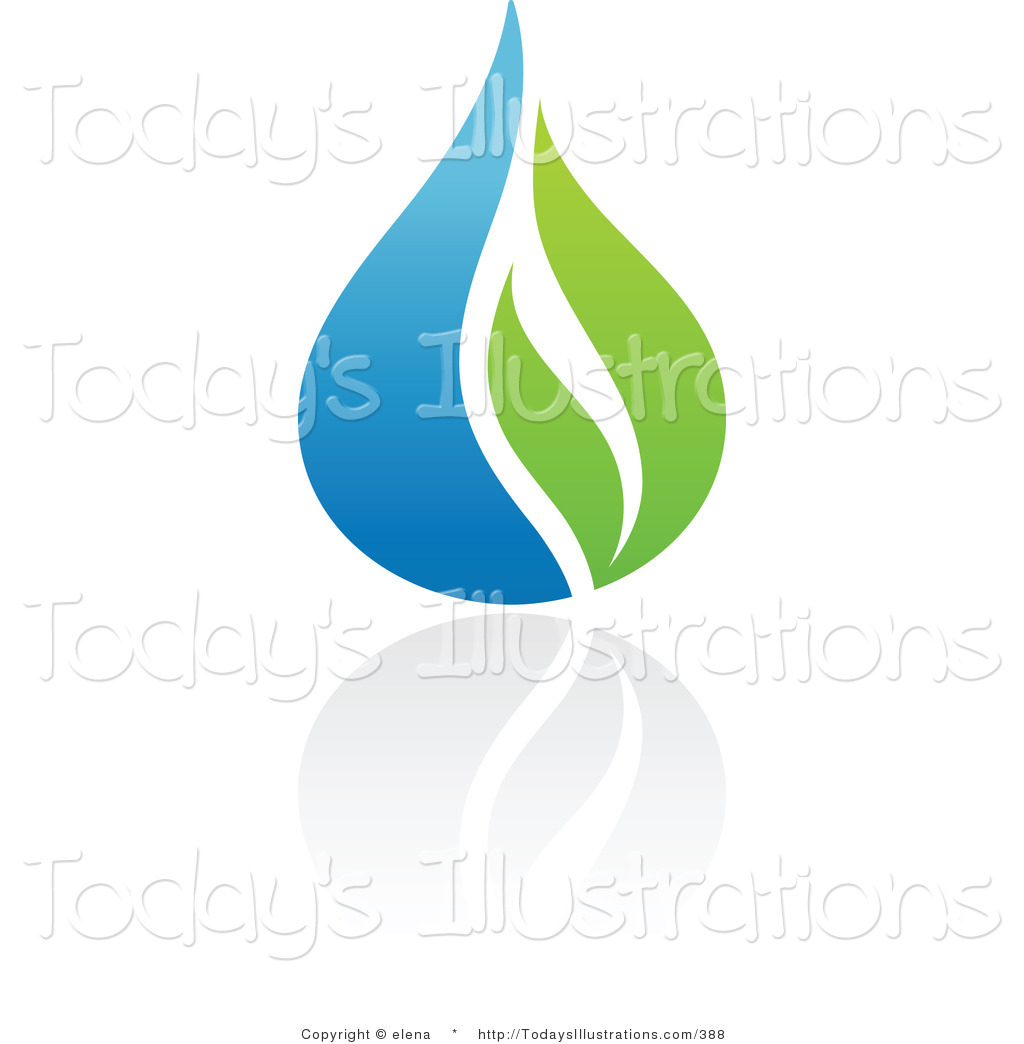 Clipart of a Blue and Green Organic and Ecology Water Drop and.