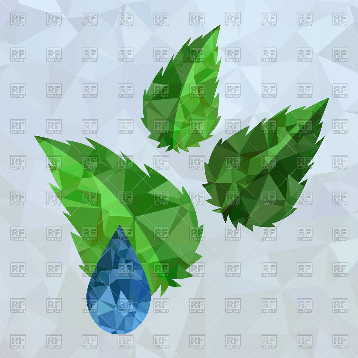 Polygonal water drop and green leaves Vector Image #96066.