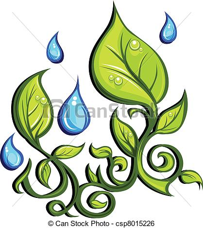 Clip Art Vector of Spring Season Leaves and Rain Drops.