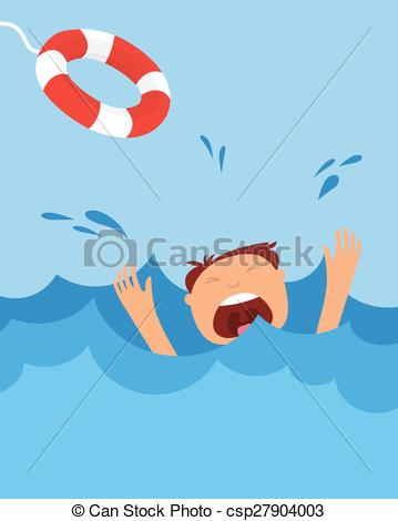Girl drowning clipart.