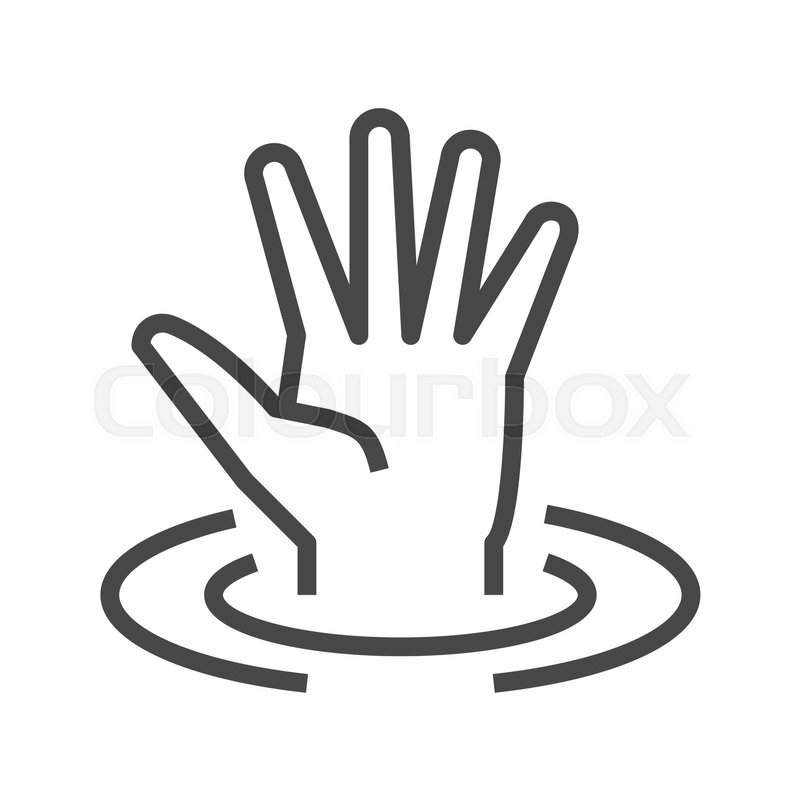 Drowning Victim Thin Line Vector Icon..