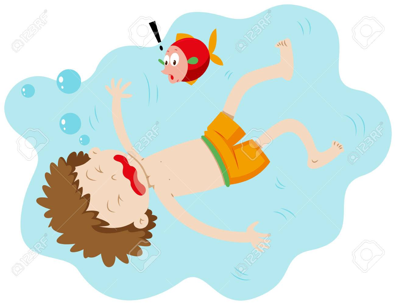 Little boy drowning under the water illustration.