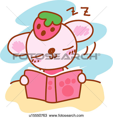 Clipart of desk, cat, holding, book, character, drowsiness, animal.