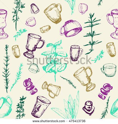 Hand Drawn Sketch Herbs De Provence Stock Vector 467779004.
