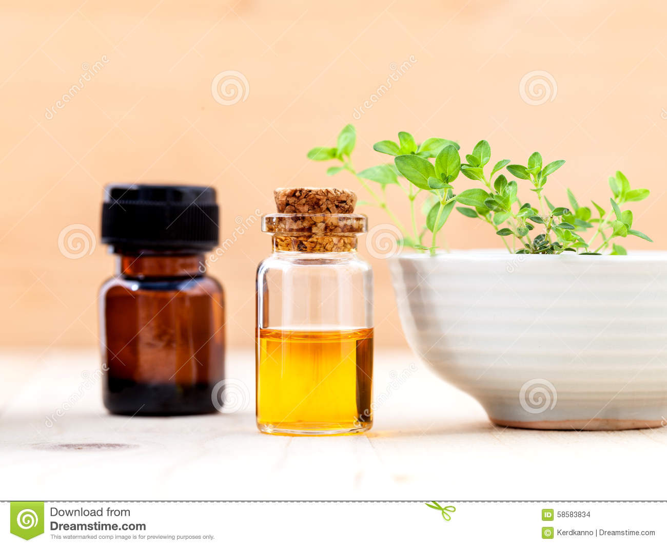 Bottle Of Essential Oil And Lemon Thyme Leaf Stock Photo.