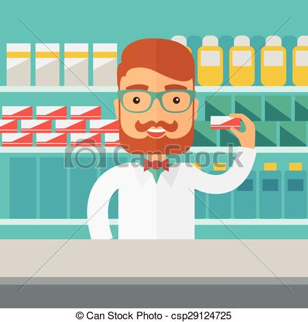 Vector Illustration of Young pharmacy chemist man standing in.