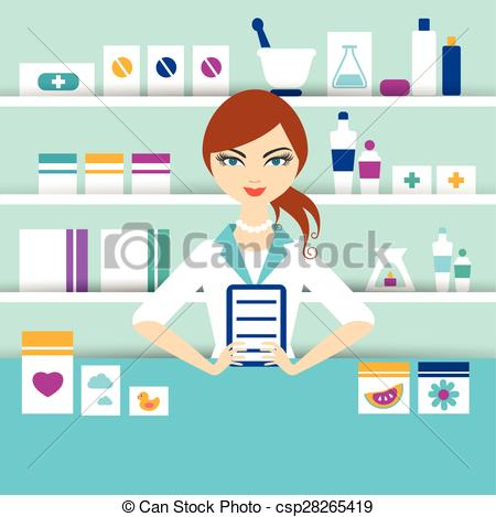 Vector Clip Art of Young pharmacy chemist girl standing in.