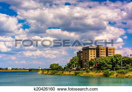 Stock Photography of Druid Lake, at Druid Hill Park in Baltimore.