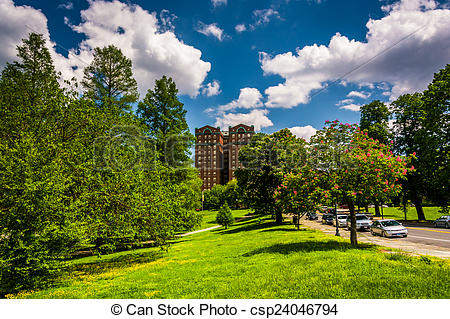 Stock Photographs of Clouds over trees and a building at Druid.