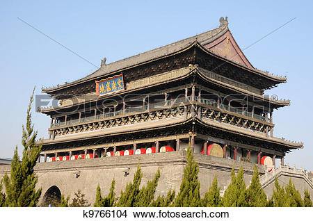 Stock Photo of Drum Tower in Xian China k9766104.