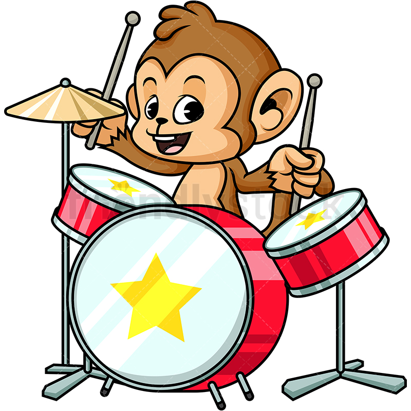 Monkey Playing Drums.
