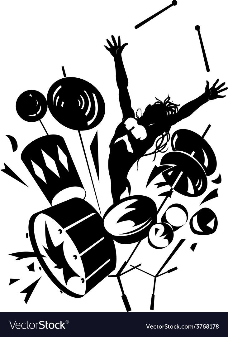 Rock drummer silhouette.