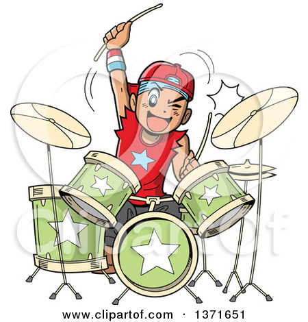Clipart Of A Crazy White Male Metal Band Drummer Musician.