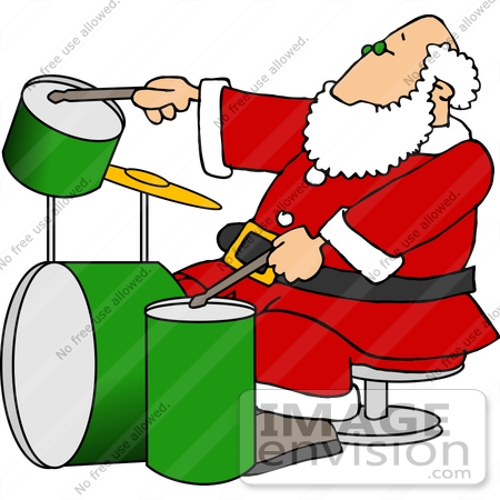 Santa Claus Drumming a Green Set of Drums Clipart.
