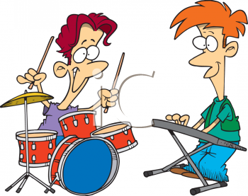 Cartoon of the Teen Drummer and Keyboard Player in a Garage Band.