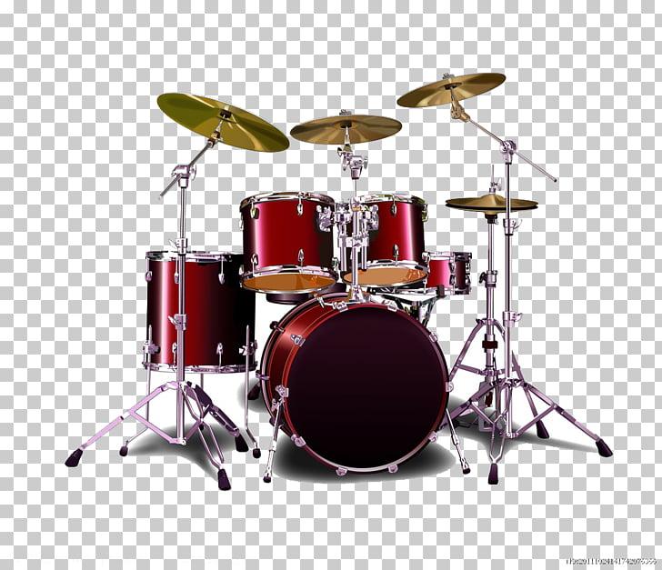 Sticker Bass drum Decal Drums, Red drum, red drum set illustration.