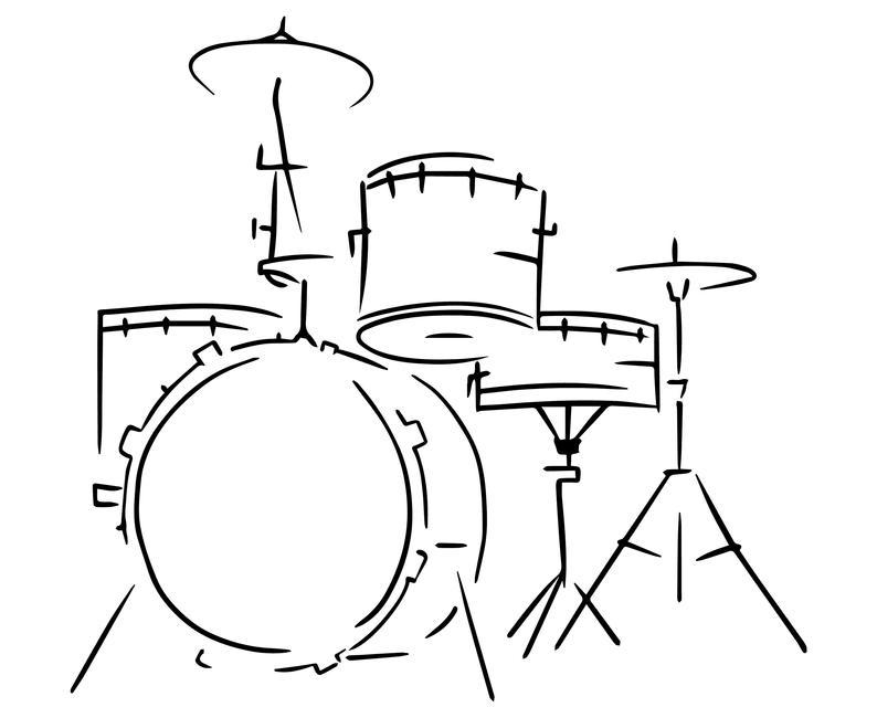 Drum set, Drummer, Drum, Hand drawn, Sketch,  Silhouette,SVG,Graphics,Illustration,Vector,Logo,Digital,Clipart.