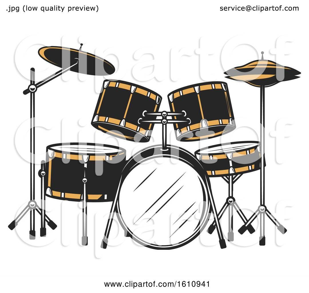 Clipart of a Drum Set.