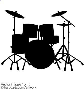 Drum Set Clipart Silhouette.