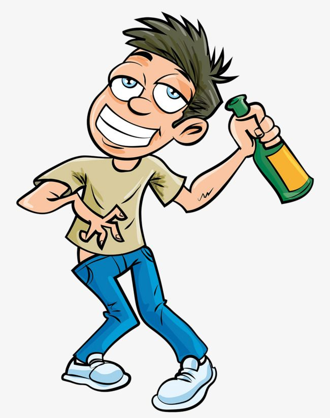 A Man With A Drunken Man With A Bottle Of Wine, Man Clipart.