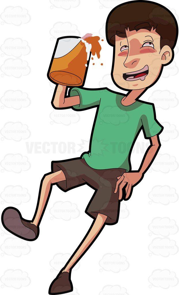 A drunken man holding a mug of beer #cartoon #clipart.