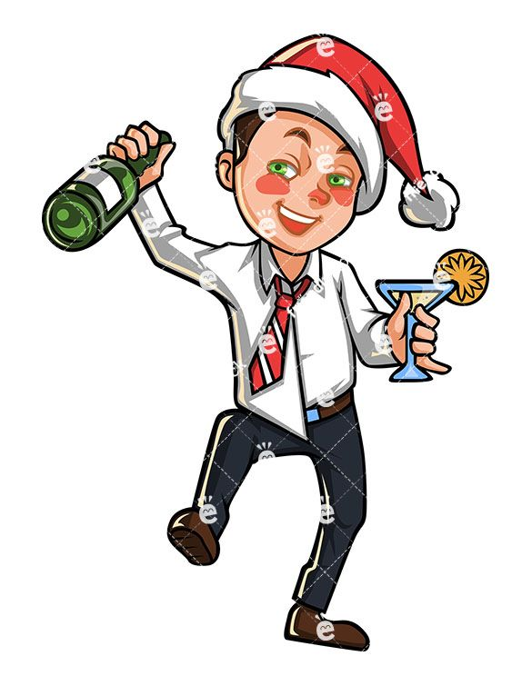 A Tipsy Business Man With Christmas Hat Holding A Bottle Of.