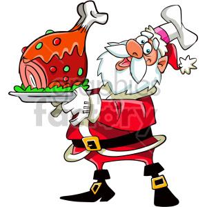 cartoon santa holding dinner for christmas clipart. Royalty.