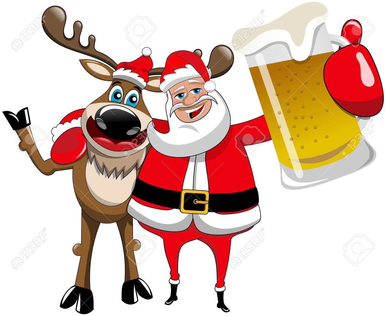 Santa With Beer Clipart.