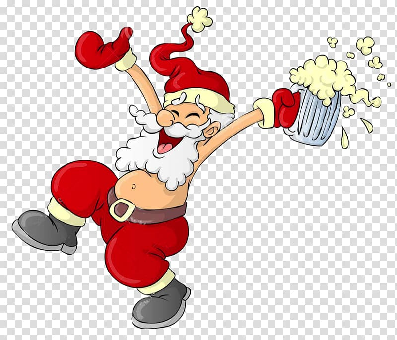 Santa Drunk transparent background PNG cliparts free.