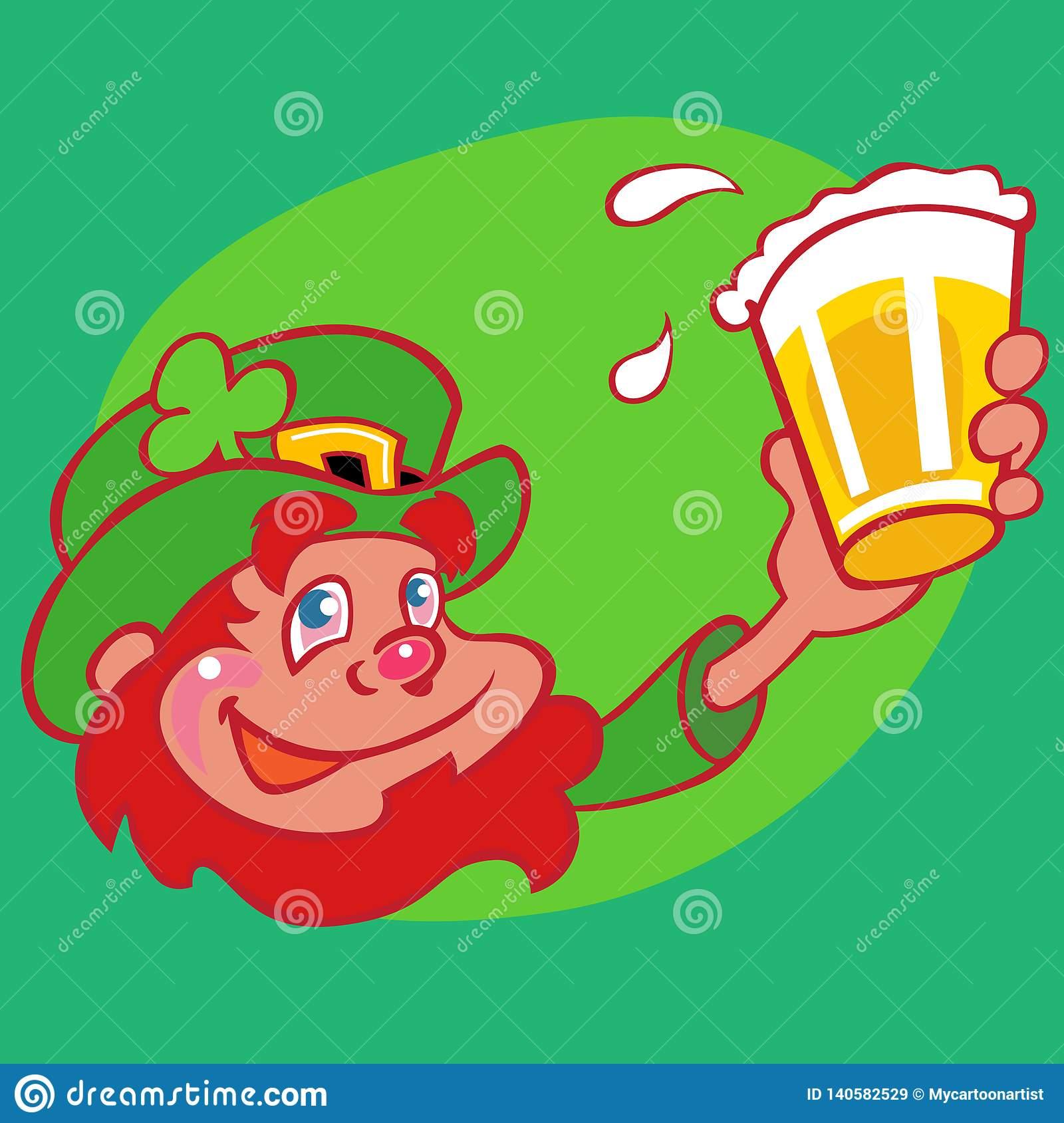 Drunk Leprechaun Red Beard And Beer Stock Image.