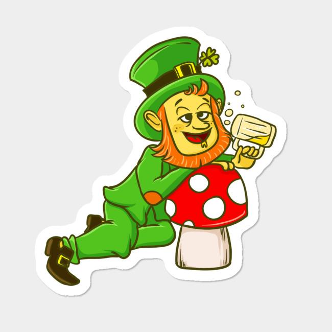 St Patrick's Day Drunk Leprechaun Mushroom Sticker By TwinTee Design By  Humans.