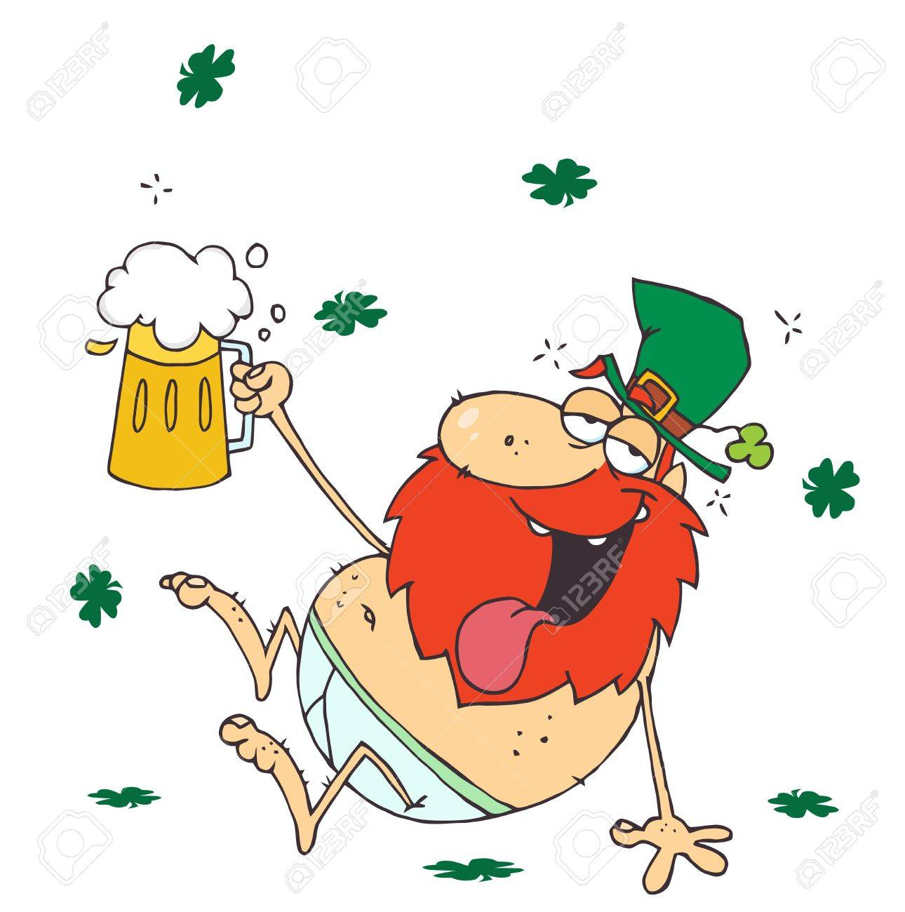 Drunk Leprechaun Lying Naked With Beer.