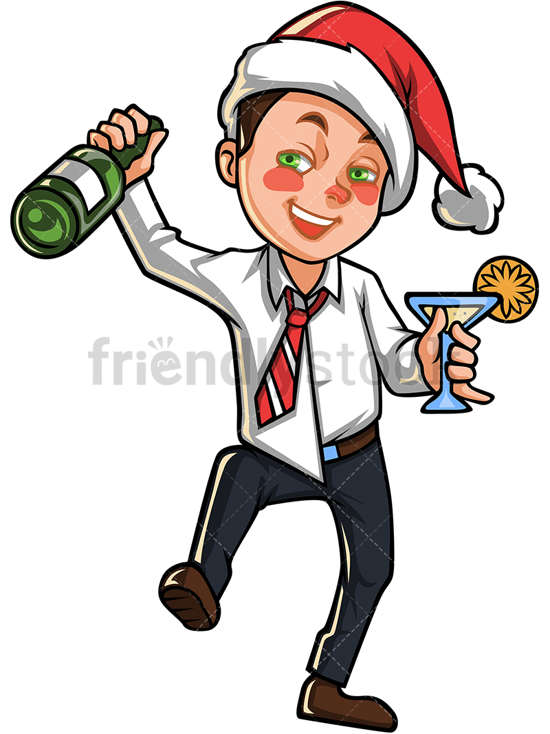A Tipsy Business Man With Christmas Hat Holding A Bottle Of Champagne.