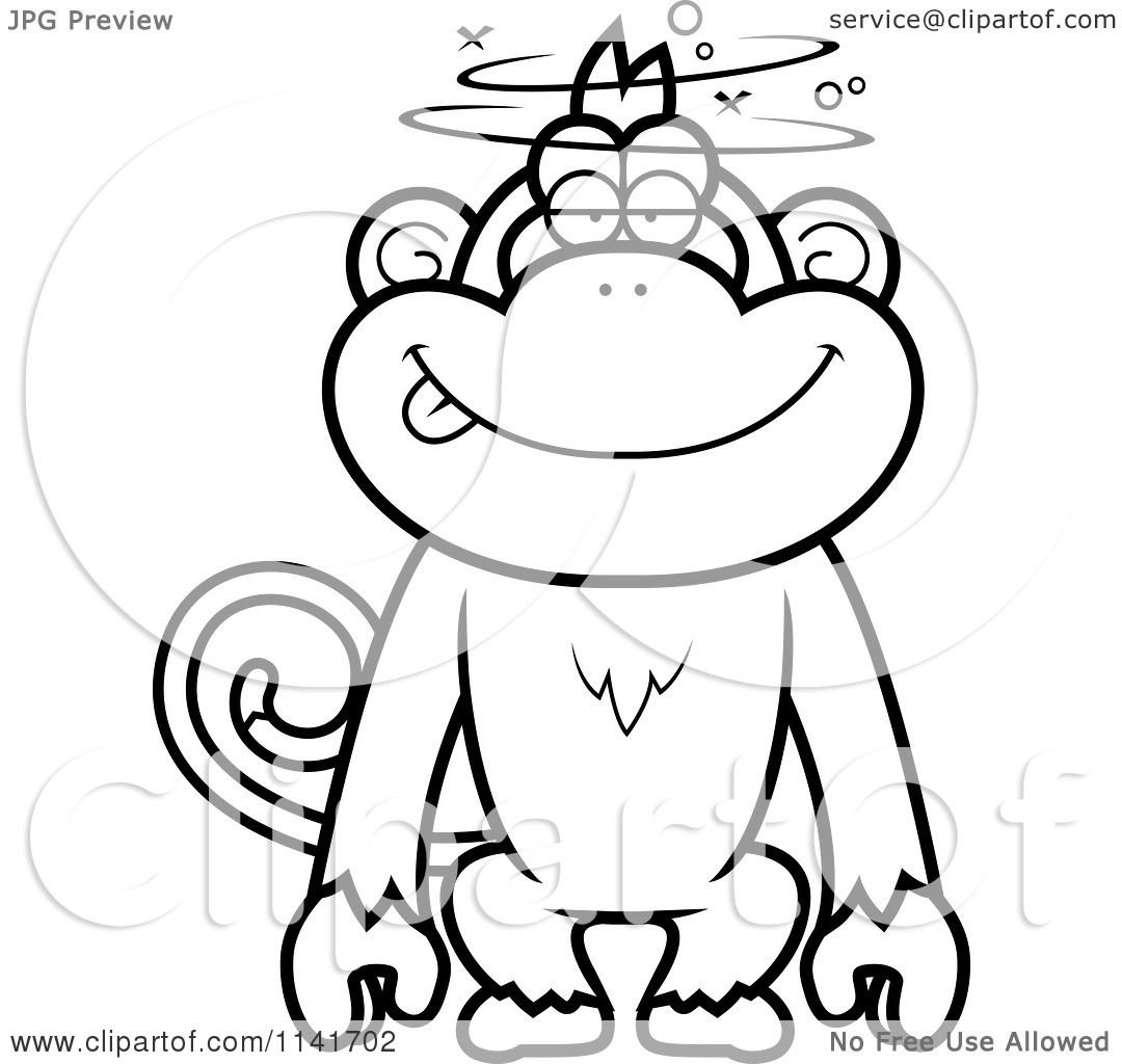 Cartoon Clipart Of A Black And White Drunk Or Dumb Monkey.